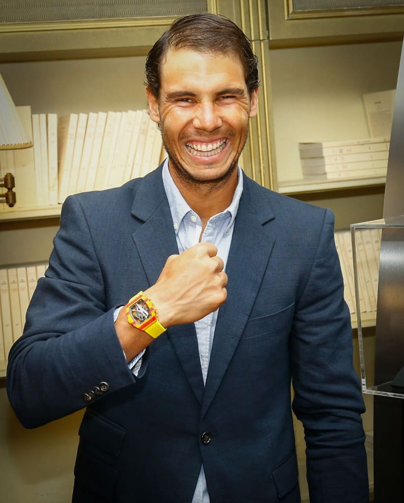 Rafael Nadal with the Richard Mille RM 27-03 Tourbillon Rafael Nadal