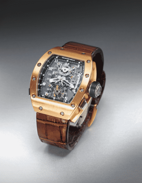 Richard Mille A PINK GOLD TONNEAU FORM SPLIT SECONDS CHRONOGRAPH TOURBILLON WRISTWATCH WITH POWER RESERVE AND TORQUE INDICATION RM008 AG PG NO 48 CIRCA 2010