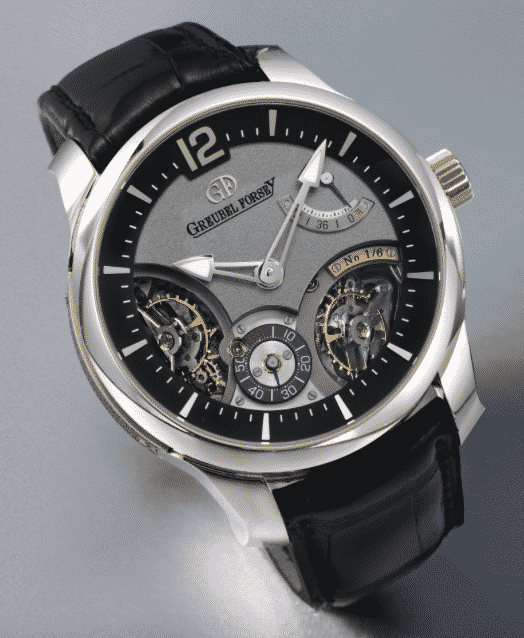 Greubel Forsey A WHITE GOLD WRISTWATCH WITH POWER RESERVE AND DOUBLE BALANCE WHEELS NO. 1 DOUBLE BALANCIER 35° EDITION UNIQUE CIRCA 2013