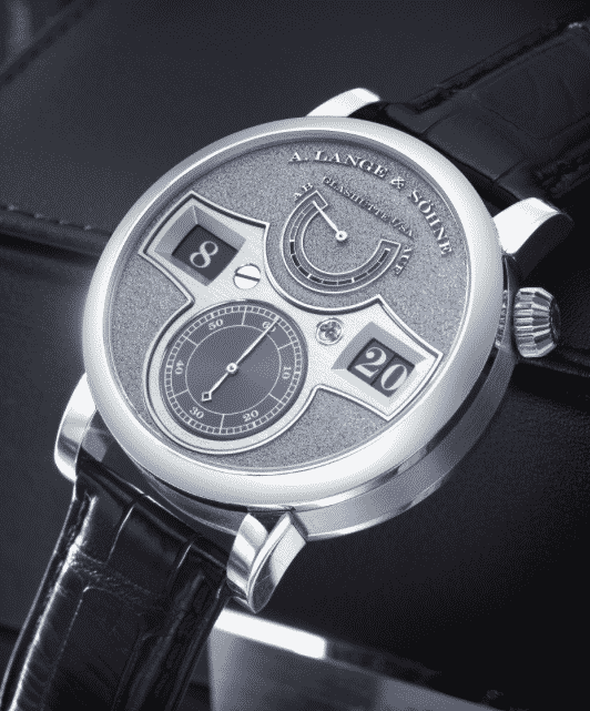 A. Lange & Söhne A FINE AND RARE PLATINUM JUMP HOUR AND MINUTE WRISTWATCH WITH POWER RESERVE INDICATION REF 140.048 MVT 98010 CASE 206321 NO 21/30 ZEITWERK HANDWERKSKUNST CIRCA 2012
