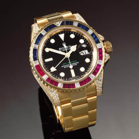 Lot 80 - Rolex GMT-Master II 116758 Diamond, Ruby & Sapphires